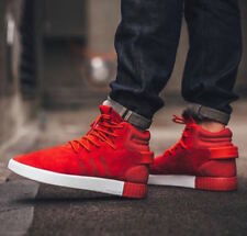 Adidas Tubular Invader UK Size 7 & 10 Men's Trainers Boots Shoes Hi Top Red New