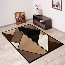 Modern Rug in Beige Geometric Design Triangle Pattern for Living Room & Bedroom