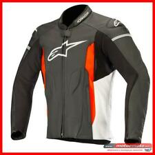 Giacca Moto Pelle Alpinestars Faster Leather Nero Rosso Fluo Sport Naked
