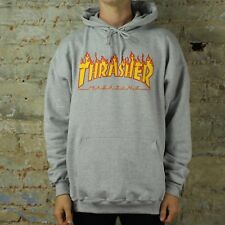 Thrasher Flame Logo Pullover Hooded Sweatshirt – Grey in size M,L,XL.