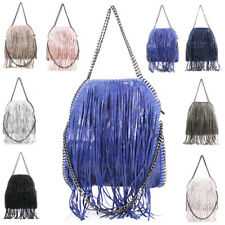 Womens Fringed Tassel Chain Design Large Handbag Tote Hobo Shopper Shoulder Bag
