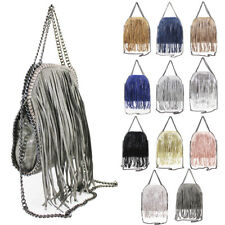 Womens Fringed Tassel Chain Trim Design Handbag Tote Hobo Shopper Shoulder Bag