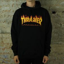 Thrasher Flame Logo Pullover Hooded Sweatshirt – Black in size S,M,L,XL