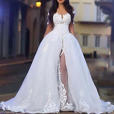 The Shoulder Wedding Dresses with Overskirt Long Sleeve Lace Bridal Wedding