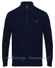 Ralph Lauren Polo Men's Half Zip Chain Knit Cotton Navy Jumper S - XXL RRP £125