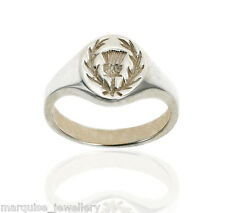 925 Sterling Silver Gents Signet Ring - Scottish Thistle.