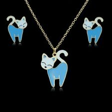 Lovely Cartoon Animal Dog Cat Enamel Earrings Necklace Jewellery Set Womens Gift