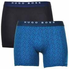 HUGO BOSS Cotton Stretch 2-Pack Cyclist Boxer Brief, Black / Blue Triangle Print