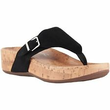 Vionic Pacific Marbella Black Womens Suede Post-Toe Slip-On Wedge Sandals
