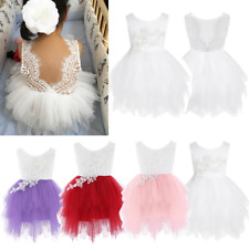 Toddler Girl Flower Lace Princess Dress Kid Bridesmaid Party Backless Tutu Skirt