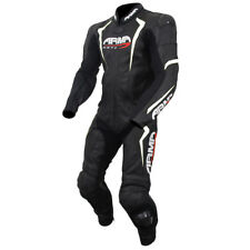 ARMR Harada S 1 Piece Motorcycle Motorbike Leather CE Race Suit - Black/White