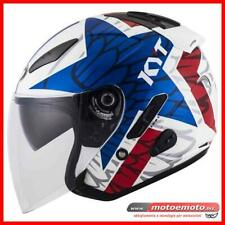 Casque Moto Scooter Suomy Kyt Hellcat Star Blanc Rouge Bleu Jet Double Visière