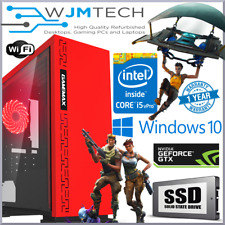 Red Gaming PC Quad Core i5 GTX 1050 Ti 16GB Windows 10 Desktop Computer GTX