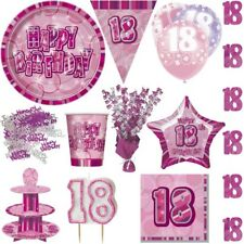 18. Birthday Party Deco Pink Anniversary Decoration Set Disposable Dishes NEW