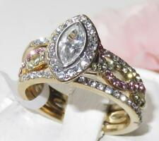 2129 3pc GOLD CZ RING SET MARQUISE WOMENS 18KT STAINLESS STEEL BEZEL WEDDING