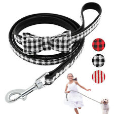 Cat Dog Leads with Bow Tie Leather Puppy Walking Leash Clip for Small Pets 120cm