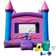 Pink Purple Commercial Inflatable Bounce House With Blower Kids Party Moonwalk