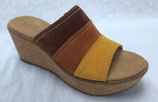 BNIB Clarks Ladies Aisley Lily Tan Combi Suede Wedged Sandals