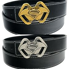 QHA Mens Reversible Leather H Bat Superman Belt Buckle Waist Q50