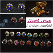Womens New Crystal Rhinestone Ear Studs Round Earrings Ladies Fashion Jewellery