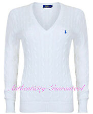 Ralph Lauren Women's Ladies Cable Knit Cotton V Neck Jumper White XS-XL RRP £110
