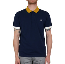 X Fred Perry Colour Block Pique Polo Shirt - French Navy (Fred Perry Limited)
