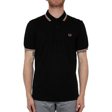Fred Perry Twin Tipped Polo Shirt - Black / Ecru / Nectar