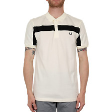 X Fred Perry Textured Panelled Pique Polo - Light Ecru (Fred Perry Limited)