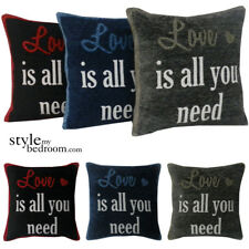 LOVE is All you Need Chenille Cushion Covers / Filled Cushions in 3 Colours