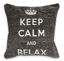 Grey Keep Calm & Relax Chenille Cushion Covers or Filled Cushions