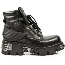 Men's NEW ROCK 924-S1 Metallic Black Gothic Motorcycle Biker Ankle Leather Boots