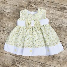 Beautiful Baby Girls Lemon and White Floral Summer Dress With Bow
