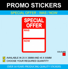 Special Offer Was / Now Stickers - Available In 2 Sizes