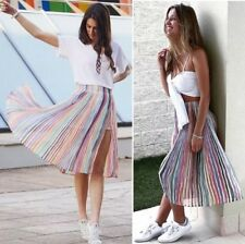 ZARA PASTEL RAINBOW CANDY STRIPED PLEATED CHIFFON ACCORDION FLOWING MIDI SKIRT