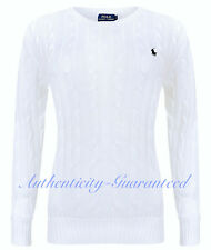 Ralph Lauren Women's Ladies Cable Knit Cotton Crew Jumper White XS-XL RRP £110
