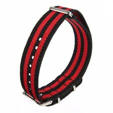 Military NATO watch strap Fabric Army James Bond Inspired Red & Black Stripe