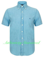 Ralph Lauren Men's Slim Fit Denim Blue Short Sleeve Shirt Medium RRP £100
