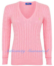 Ralph Lauren Women's Ladies Cable Knit V Neck Jumper Pink S - XL RRP £110