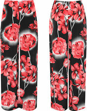 Plus Womens Floral Print High Waisted Palazzo Trousers New Ladies Wide Leg Pants