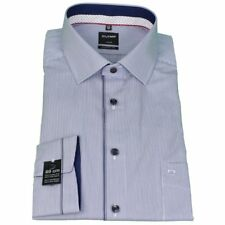 Olymp Chemise coupe moderne Manches extra-longues bleu blanc rayé 1201 19 18