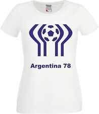 Argentina 78 1978 World Cup Retro Football Classic Maradona Fans  Ladies T Shirt
