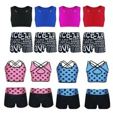 f9c3485f19 Kids Girls Tankini Dance Athletic Booty Short Outfit Running Gym Workout  Clothes