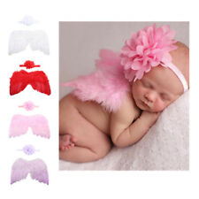 Newborn Baby Girl Angel Wings Feather &Flower Headband Photo Prop Costume Outfit