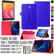 "3 IN 1 Smart Leather Case Cover For Samsung Tab A/S2 9.7"" E 9.6 Inch + TEMPERED"