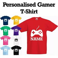 *NEW* Personalised Boys Girls Kids Gaming, Gamer X-Box PS4 T-Shirt With Name
