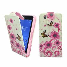 FOR SONY XPERIA Z3 MINI WHITE PINK SWIRL FLOWER BUTTERFLY PU LEATHER FLIP CASE
