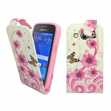 WHITE PINK SWIRL FLOWER BUTTERFLY PU LEATHER FLIP CASE FOR SAMSUNG GALAXY ACE 4