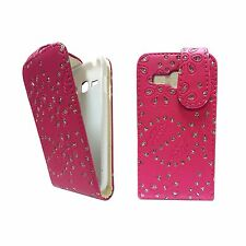 FOR SAMSUNG GALAXY ACE 3 HOT PINK GLITTER DIAMOND PU LEATHER FLIP COVER CASE