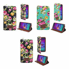 CASE COVER CLASSIC VINTAGE WALLET MULTI FLOWER FOR SAMSUNG GALAXY NOTE 4