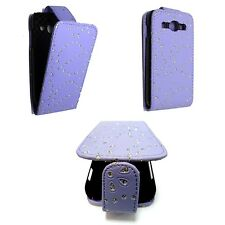 LILAC BLING DIAMOND GLITTER PU LEATHER FLIP CASE FOR SAMSUNG GALAXY ACE3 S7270